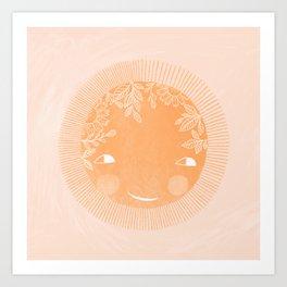 happy sun illustration Art Print