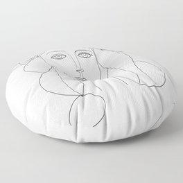 Picasso Line Art - Woman's Head Floor Pillow