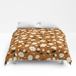 Daisies Pattern - Rust Orange Comforters