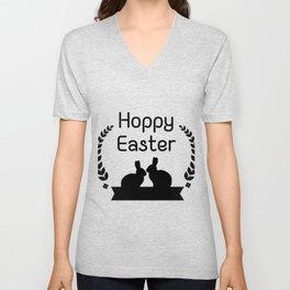 Hoppy Easter Bunny Funny Kids Women Men Unisex V-Neck