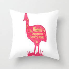 Thanks To Impermanence animals, motivational quotes and calligram lover gift Throw Pillow