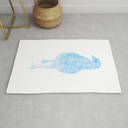 chick drawing, blue Rug