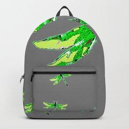 EMERALD GREEN  SWAMP DRAGONFLIES GREY ART Backpack