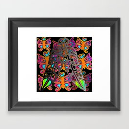Eagle & Raven Feathers with Butterflies Framed Art Print