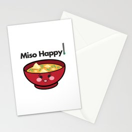 Miso Happy Food Foodie Pun Humor Graphic Design Smiling Bowl of Soup Chopsticks Stationery Cards