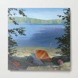 canoe on shore Metal Print