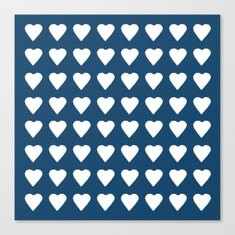 64 Hearts Navy Canvas Print