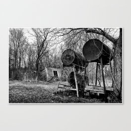 Fuel Drums and Fallen House Canvas Print