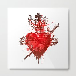 heart in flames wounded by dagger Metal Print