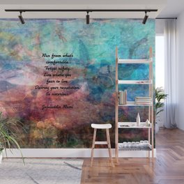 Challenging Fear Rumi Uplifting Quote With Beautiful Underwater Painting Wall Mural