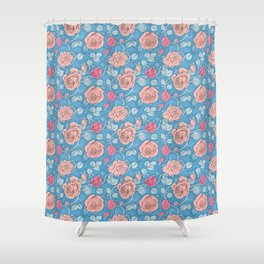 Roses Blue Pink Shower Curtain