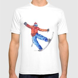 Watercolor snowboarder winter T-shirt