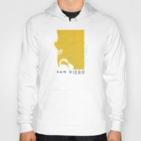 san diego Hoodies featuring San Diego Map by Roadtrippers