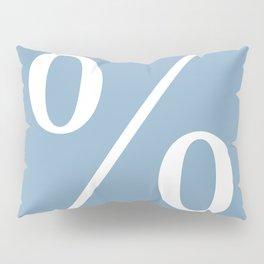 percent sign on placid blue color background Pillow Sham