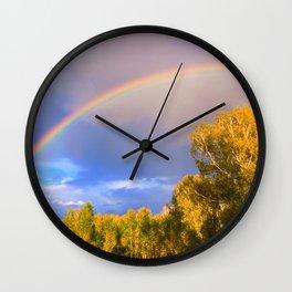 Double rainbow in autumn Wall Clock