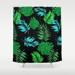 Vintage Retro Tropical Leaf Pattern Shower Curtain