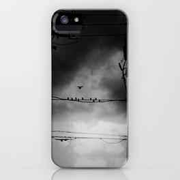 Black and White Birds on a Wire iPhone Case