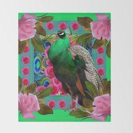 GREEN PEACOCK &  PINK ROSES MODERN GREEN ART Throw Blanket