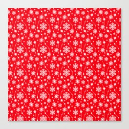 Christmas Red Snowflake Pattern Canvas Print