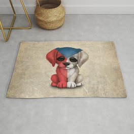 Cute Puppy Dog with flag of Czech Republic Rug