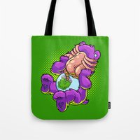 xenomorph Tote Bags featuring Caring Hugs by Artistic Dyslexia