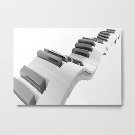 Keyboard of a piano waving on white background - 3D rendering Metal Print