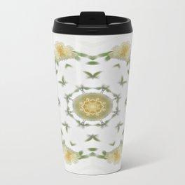 Creamy Yellow Rose Kaleidoscope Art 4 Travel Mug