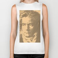 beethoven Biker Tanks featuring Beethoven Portrait  by Cool Prints