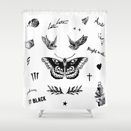 Harry's Tattoos Two Shower Curtain