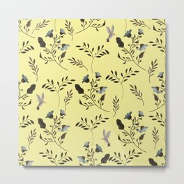 Butter Yellow and Bluebells and Bluebirds Floral Pattern Flowers in Blue and Bark Brown Metal Print
