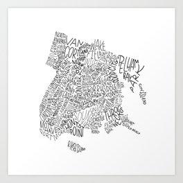 Bronx - Hand Lettered Map Art Print