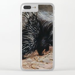 A crested porcupine. Colour lithograph after W. Kuhnert. Clear iPhone Case
