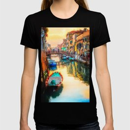 Boats on Venice Canal Oil Painting T-shirt