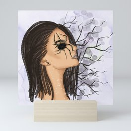 Halloween Girl With Spider Web Mini Art Print