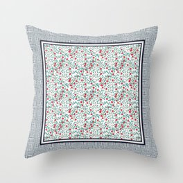 Little Flowers in Red, Blue and Plaid Print - Indian Floral Collection Throw Pillow