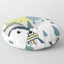 Cute fox ready for winter Floor Pillow