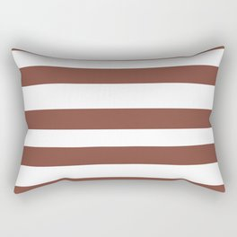 Inspired by Dunn Edwards Spice of Life DET439 Hand Drawn Fat Horizontal Lines on White Rectangular Pillow