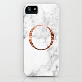 Monogram rose gold marble O iPhone Case