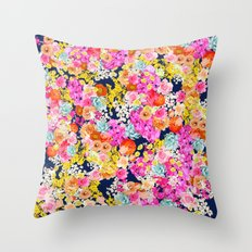 Bright Summer Vintage Inspired Floral Print on Navy  Throw Pillow