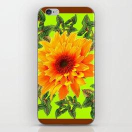 YELLOW SUNFLOWER CHARTREUSE GARDEN BROWN ART iPhone Skin