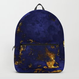 Gold Blue Indigo Malachite Marble Backpack