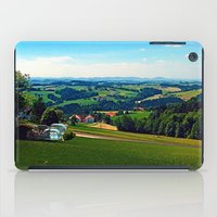 airplanes iPad Cases featuring Condensation trail with some scenery by Patrick Jobst