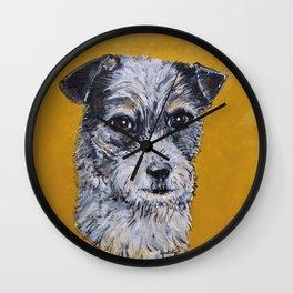 Terrier Mix Dog Portrait Wall Clock