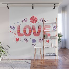 Flora Love Boho Style Wall Mural
