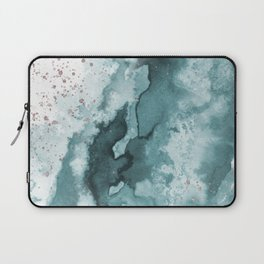 Watercolor meets Glitter - Turquoise Rose Gold - No 2 Laptop Sleeve