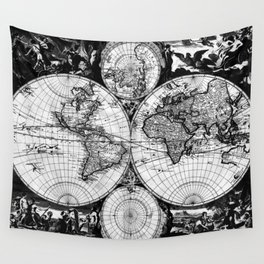 Vintage Map of The World (1685) Black & White Wall Tapestry