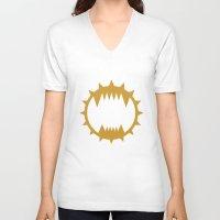 warhammer V-neck T-shirts featuring Warhammer 40k World Eaters Minimalist Print by Milos Cakovan