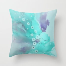 Floating flowers teal Throw Pillow