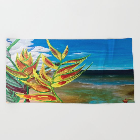 Heliconia Tropical Parrot Plant Take Me There Beach Towel