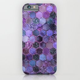 Purple geometric hexagonal elegant & luxury pattern iPhone Case